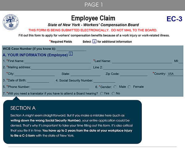 New York Workers' Compensation C-3 form, Page 1, Section A