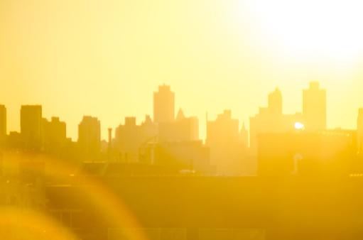 New York City skyline background image with lense flare